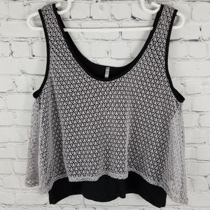 2 HEARTS | cropped layered netting tank top